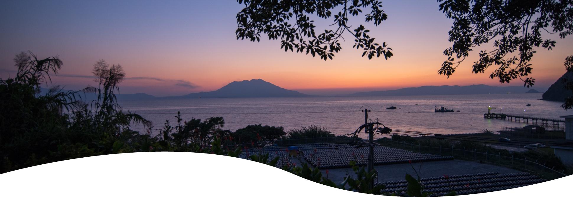 夕暮れの錦江湾